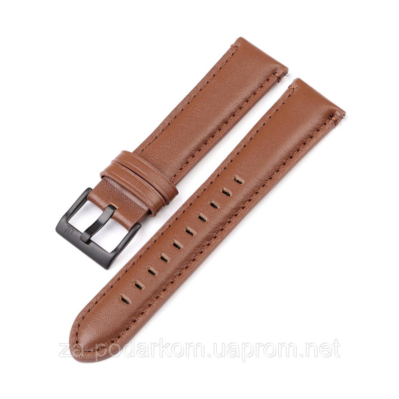Ремінець для годинника 6 секунд коричневий з натуральної шкіри