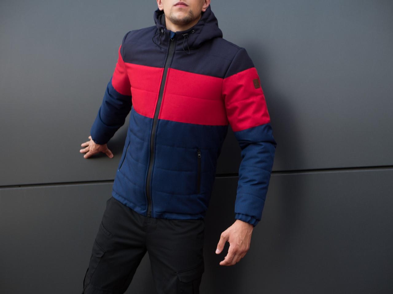 Мужская курточка  Pobedov Jacket Zatoka осень/еврозима повседневная теплая  (синяя с красным) ОРИГИНАЛЬНАЯ