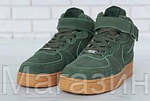 Зимние высокие мужские кроссовки Nike Air Force High Найк Аир Форс С МЕХОМ зеленые, фото 2