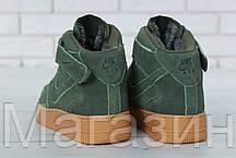 Зимние высокие мужские кроссовки Nike Air Force High Найк Аир Форс С МЕХОМ зеленые, фото 3