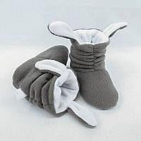 """Тапочки с ушками """"Зайки"""" серо белые, фото 1"""
