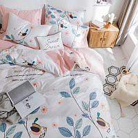 Хлопковый комплект постельного белья Птица на ветке (двуспальный-евро)