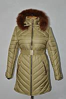 Пуховик женский зимний с отделкой