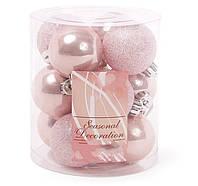 Набор елочных шаров 4см, цвет - розовый, 12шт: перламутр, глитер - по 6 шт, фото 1
