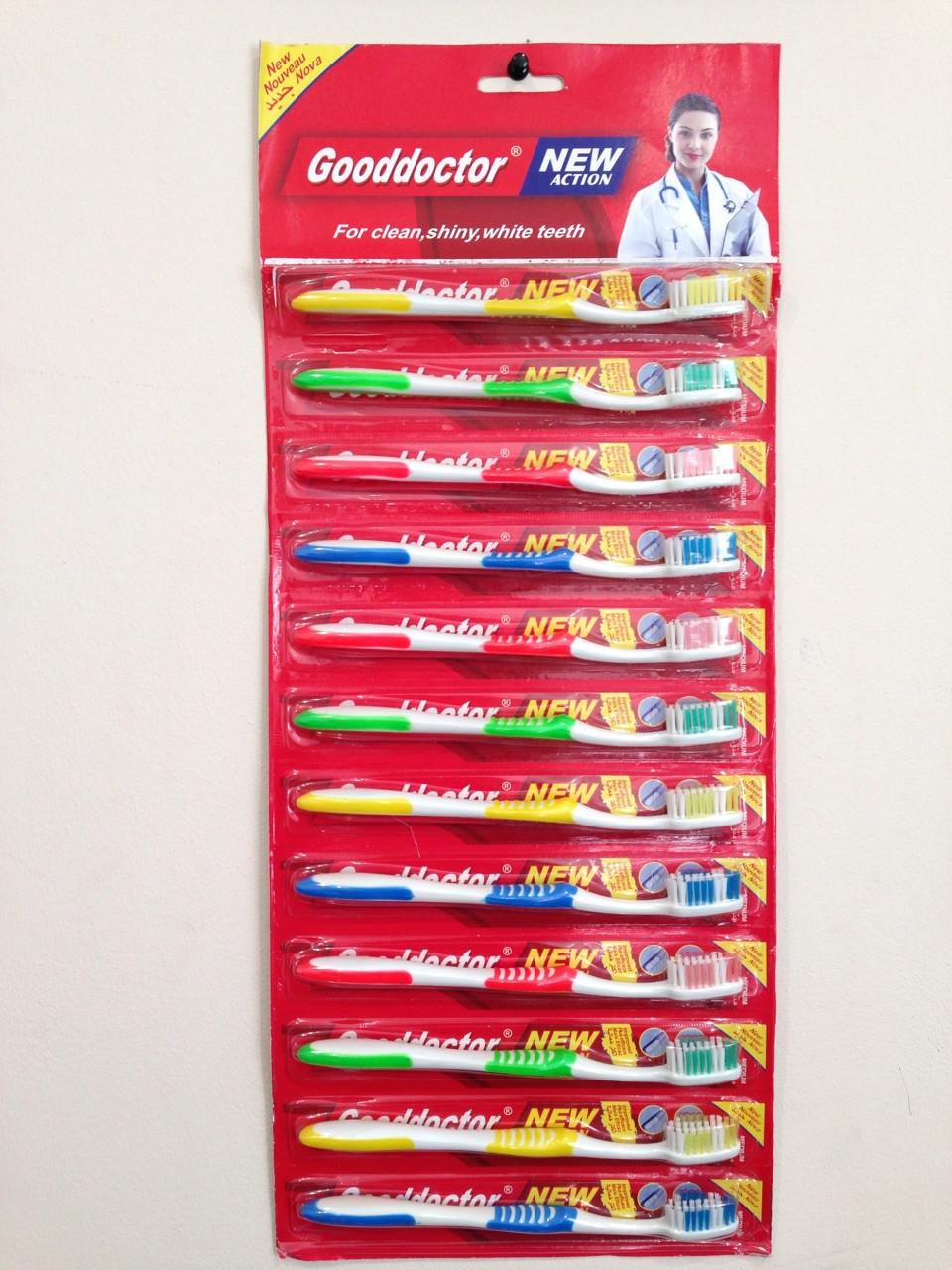 Зубная щетка на листе Gooddoctor 12 шт. в уп.