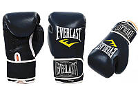 Перчатки боксерские PU на липучке Everlast черные