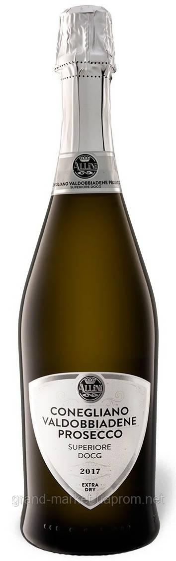 """Вино игристое """" Allini Conegliano e Valdobbiadene Prosecco"""" DOCG 2017 0.75 l"""