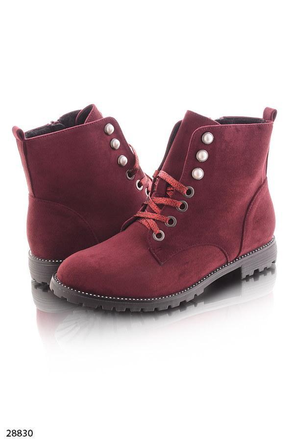 ... Ботинки женские бордовые- марсала на шнурках эко-замш весна-осень, ... c3ba1466592