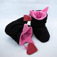 """Домашние тапочки """"Чертики"""" черно розовые, фото 1"""