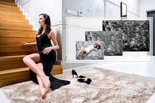 Плюшевий килим Шаггі 170x120 світло-коричневий