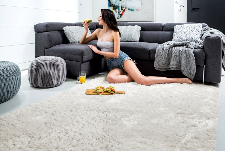 Плюшевий килим Шаггі 170x120 кремовий