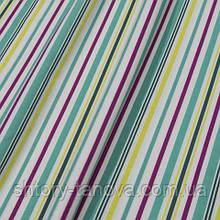 Декоративная ткань, мелкие полоски яркий мультиколор