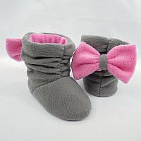Тапочки Бантики серо розовые, фото 1