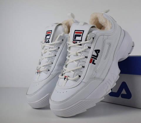 Зимние женские кроссовки Fila Disruptor 2 белые с мехом. Живое фото  (Реплика ААА+) c3ff4026b025c