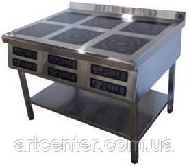 Плита 1177*800*850 мм. 6-ти конфорочная индукционная (напольная)