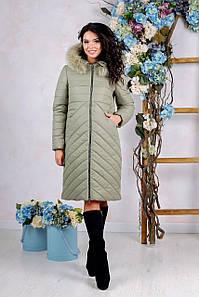 Зимний женский пуховик цвета хаки