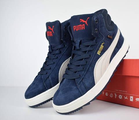 Зимние женские кроссовки Puma Suede высокие blue white. Живое фото (Реплика  ААА+) 7096289524a