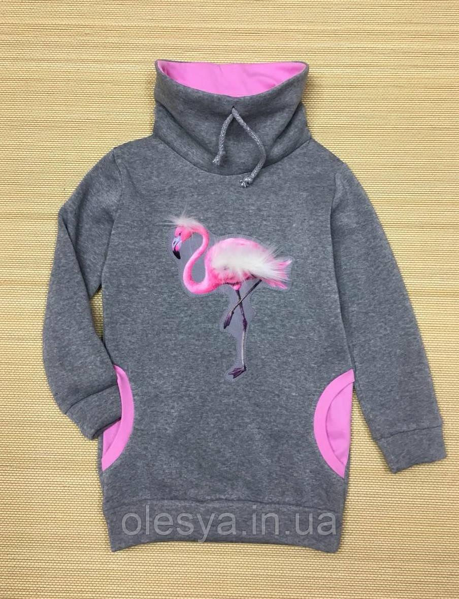 Модный теплый свитшот трикотажный на флисе для девочки Размеры 104 116