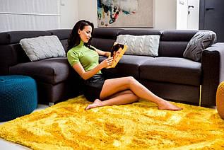 Плюшевий килим Шаггі 170x120 жовтий