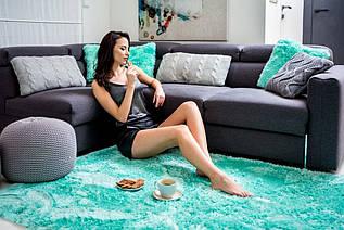 Плюшевий килим Шаггі 200x140 м'ятний