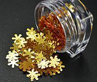Декор для ногтей Снежинки, золотистые, фото 1