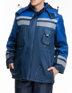 Куртка утепленная рабочего синего цвета КАРПАТЫ