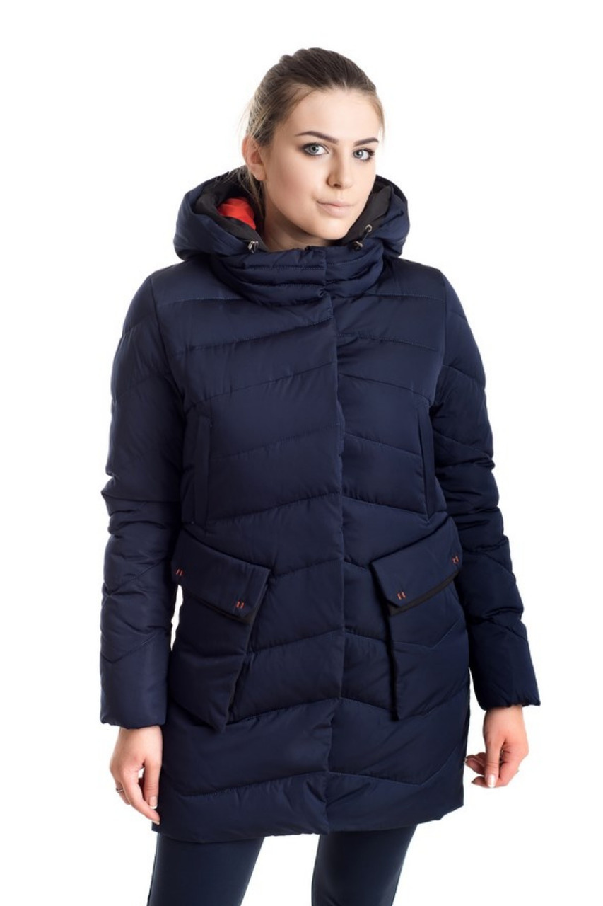 6aeec6c058d Зимняя темно-синяя куртка женская 42-50р  продажа