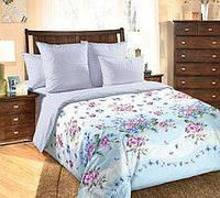 """Двухспальный комплект постельного белья """" Весенние цветы на голубом"""""""