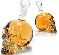 Графин в форме черепа с пробкой стеклянный