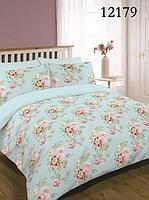 """Двухспальный комплект постельного белья """" Весенние цветы на голубом """""""