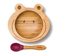 Детская тарелка на присоске с ложкой Бабака 250 мл Фиолетовая (F021505) КОД: 633036