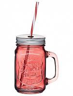 Чашка стеклянная с крышкой и трубочкой Красная