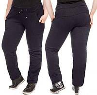 Теплые спортивные штаны больших размеров женские на флисе зимние прямые темно синие