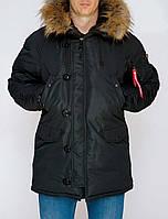 Зимняя мужская куртка аляска Olymp, черная зимняя парка
