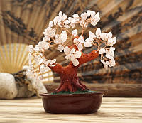 Дерево Счастья с камнями Розовый кварц