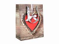 Подарочный пакет Сердце 23см, Подарочные пакеты, Подарунковий пакет Серце 23см