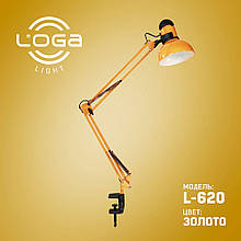 """Лампа настольная со струбциной """"Золото"""" L-620 (ТМ LOGA Light)"""