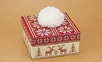 Подарочная коробка С помпоном красная 14х14х7 см, Подарочные коробки