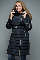 Куртка женская зимняя большого размера темно-синяя 50-62р.