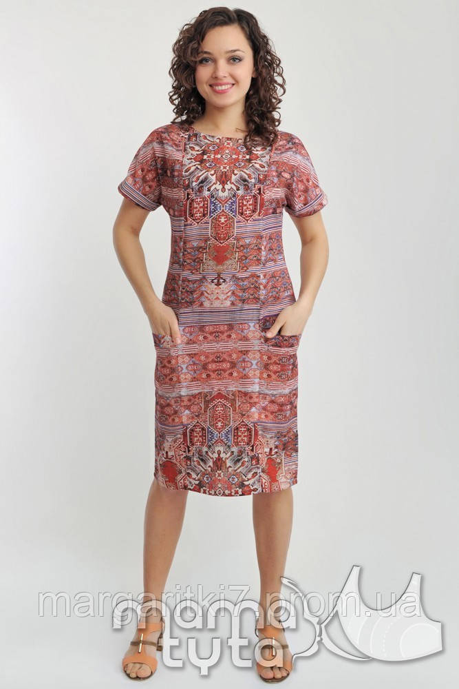 Платье летнее для кормящих (орнамент терракот)