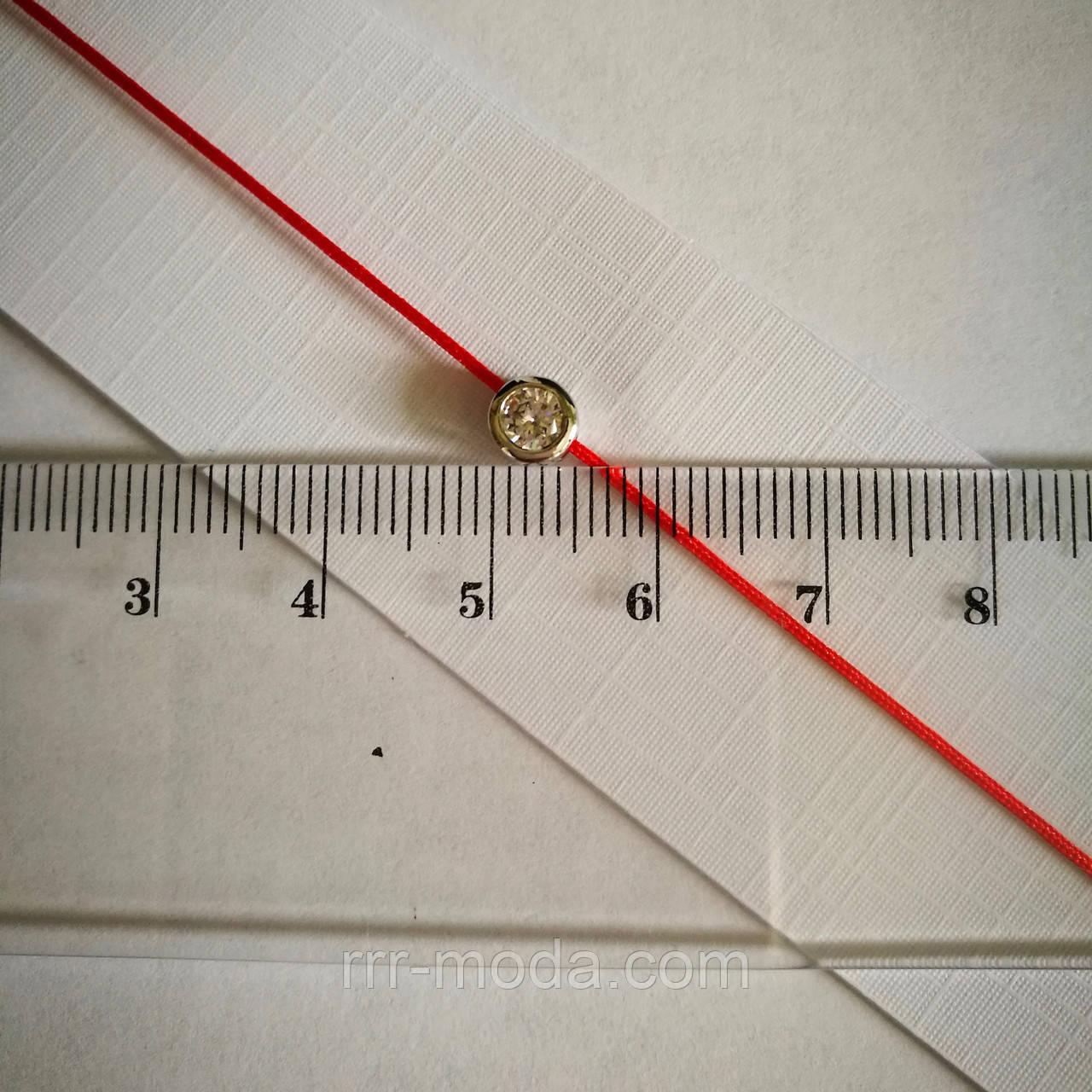 Женский браслет красная нить с цирконием 5 мм в золоте и серебре 1140