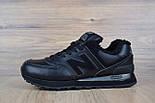 Зимние женские кроссовки New Balance 574 leather black. Живое фото (Реплика ААА+), фото 5
