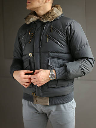 Пуховик мужской Just Cavalli с капюшоном и мехом, фото 2