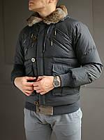 Пуховик мужской Just Cavalli с капюшоном и мехом