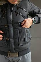 Пуховик мужской Just Cavalli с капюшоном и мехом, фото 3