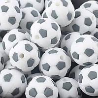 """Силиконовые бусины """"Футбольный мяч"""" 15 мм серые"""