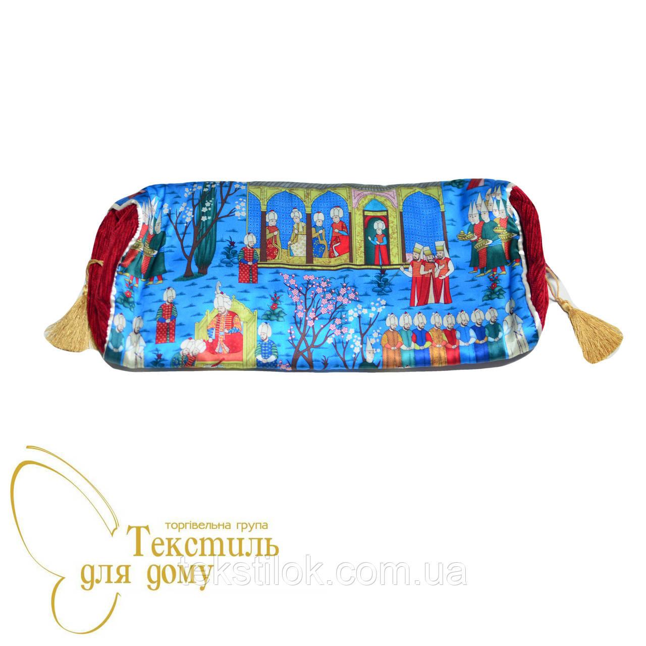 Наволочка декоративная валик Султан Miniatur, шелк, синий
