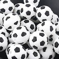 """Силиконовые бусины """"Футбольный мяч"""" 15 мм черные"""
