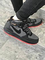 Мужские высокие кроссовки Nike черные с красной подошвой топ реплика, фото 3