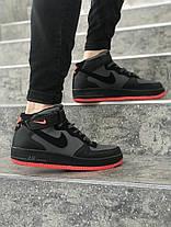Мужские высокие кроссовки Nike черные с красной подошвой топ реплика, фото 2